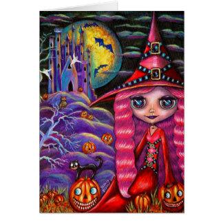 Tarjeta rosada de Halloween de la bruja