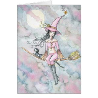 Tarjeta rosada de la bruja y del gato de Halloween