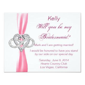 Tarjeta rosada de la dama de honor del corazón del invitaciones personalizada
