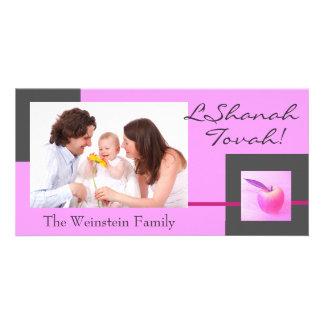Tarjeta rosada de la foto de Apple Rosh Hashanah Tarjeta Personal