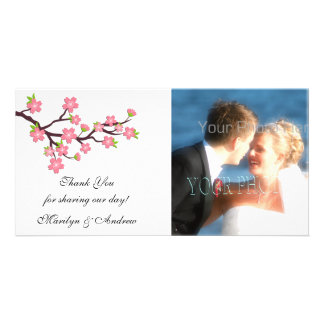 Tarjeta rosada de la foto de la flor de cerezo tarjetas con fotos personalizadas