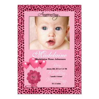 Tarjeta rosada de la foto de la invitación del