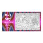 Tarjeta rosada de la foto de la invitación del fie tarjetas fotográficas personalizadas