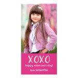 Tarjeta rosada de la foto de la tarjeta del día de plantilla para tarjeta de foto