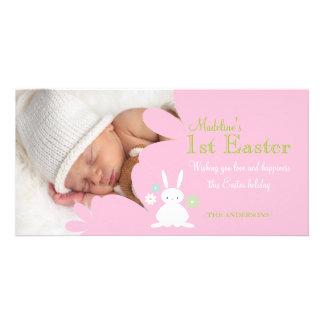 Tarjeta rosada de la foto del conejito de pascua tarjetas personales con fotos