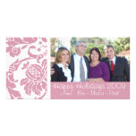 Tarjeta rosada de la foto del damasco tarjetas fotograficas personalizadas