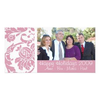 Tarjeta rosada de la foto del damasco tarjeta fotografica