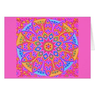 Tarjeta rosada de la mandala