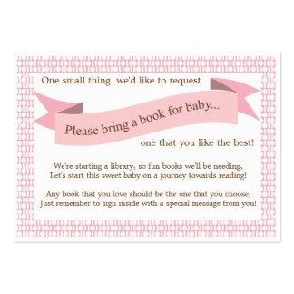 Tarjeta rosada de la petición del parte movible de tarjetas de visita