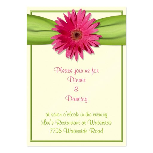 Tarjeta rosada de la recepción de la margarita del tarjetas de visita grandes