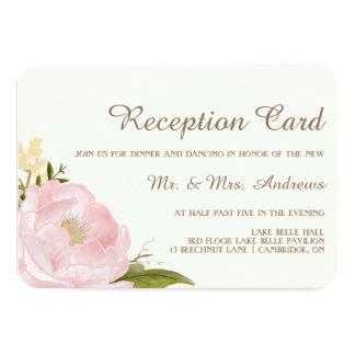 Tarjeta rosada de la recepción nupcial de los invitación 8,9 x 12,7 cm