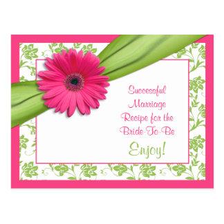 Tarjeta rosada de la receta de Gerber para una Postal
