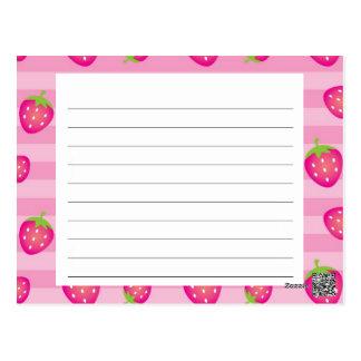 Tarjeta rosada de la receta de la fresa tarjetas postales