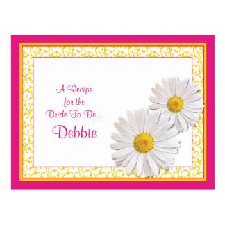 Tarjeta rosada de la receta de la margarita de postales