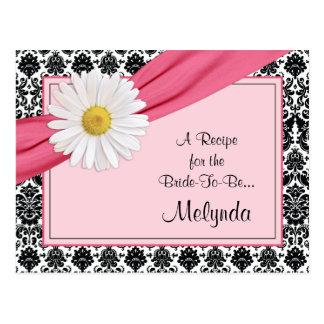 Tarjeta rosada de la receta de la margarita del tarjeta postal