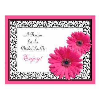 Tarjeta rosada de la receta de la margarita del tarjetas postales