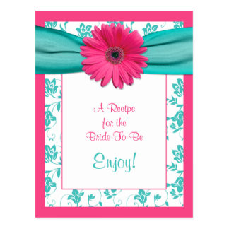 Tarjeta rosada de la receta de la margarita para tarjeta postal