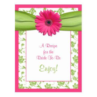 Tarjeta rosada de la receta de la margarita para postal