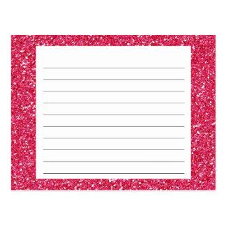 Tarjeta rosada de la receta del brillo tarjeta postal
