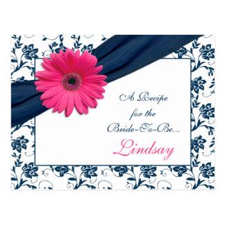 Tarjeta rosada de la receta del damasco de la tarjeta postal