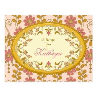 Tarjeta rosada de la receta del oro del Victorian  Postal