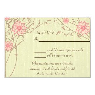 """Tarjeta rosada de la respuesta de la flor invitación 3.5"""" x 5"""""""