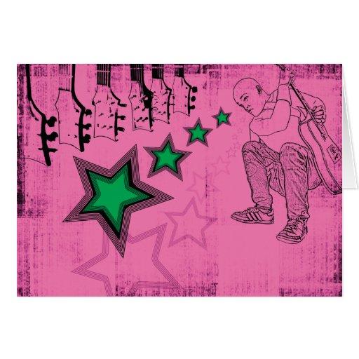 Tarjeta rosada de la superestrella
