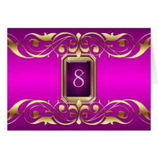 Tarjeta rosada de la tabla de la voluta del oro de