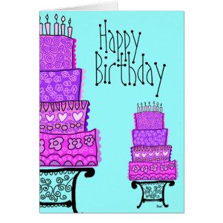 Tarjeta rosada de la torta del feliz cumpleaños