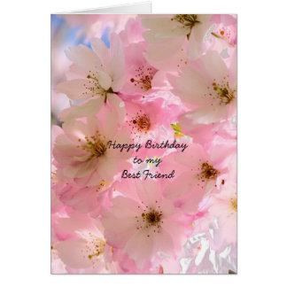 Tarjeta rosada de las bendiciones del cumpleaños