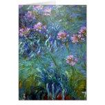 Tarjeta rosada de las flores del impresionismo
