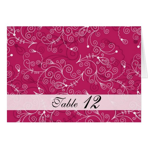 Tarjeta rosada de lujo del número de la tabla del