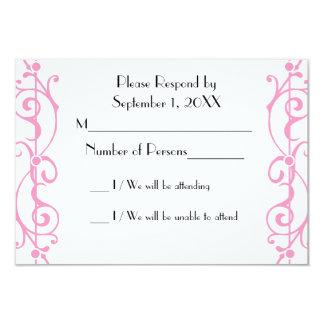 Tarjeta (rosada) de marfil de RSVP de la fibrilla Invitación 8,9 X 12,7 Cm