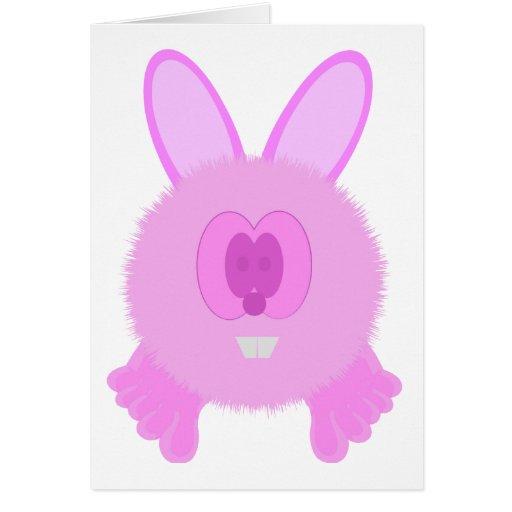 Tarjeta rosada de Pom Pom PAL del conejito