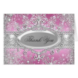Tarjeta rosada de princesa Winter Wonderland Thank