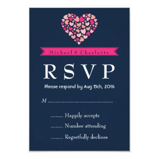 """Tarjeta rosada de RSVP de los azules marinos que Invitación 3.5"""" X 5"""""""