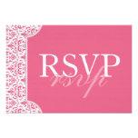 Tarjeta rosada de RSVP del damasco de la madreselv Invitaciones Personalizada