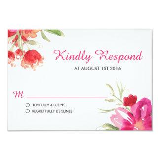 Tarjeta rosada de RSVP del ramillete de la flor de Invitación 8,9 X 12,7 Cm