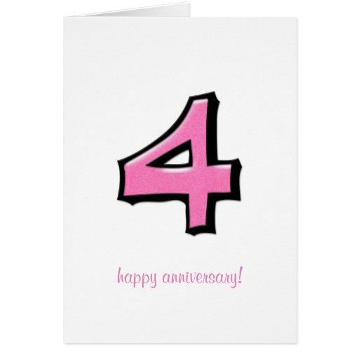 Tarjeta rosada del aniversario de los números 4 to