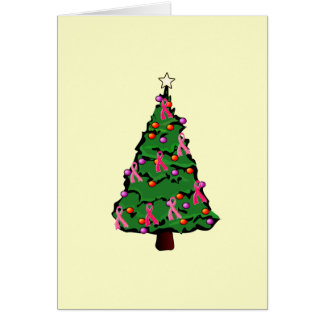 Tarjeta rosada del árbol de cinta
