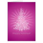 Tarjeta rosada del árbol de navidad