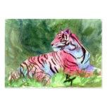 Tarjeta rosada del arte del aceo del tigre plantilla de tarjeta de negocio