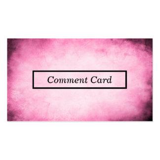 tarjeta rosada del comentario del pergamino tarjetas de visita