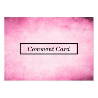 tarjeta rosada del comentario del pergamino tarjetas de visita grandes