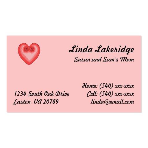 Tarjeta rosada del contacto Info de la mamá del Tarjetas De Visita