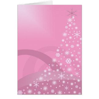 Tarjeta rosada del día de fiesta del árbol de navi