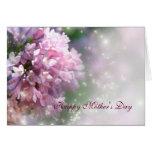 Tarjeta rosada del día de madre de las lilas del c