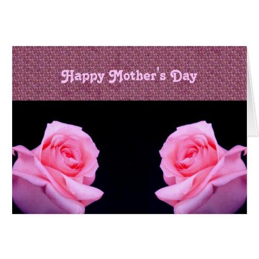 Tarjeta rosada del día de madre de los rosas