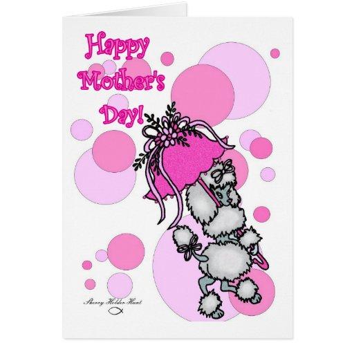 Tarjeta rosada del día de madre del caniche del Po