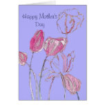Tarjeta rosada del día de madre del tulipán